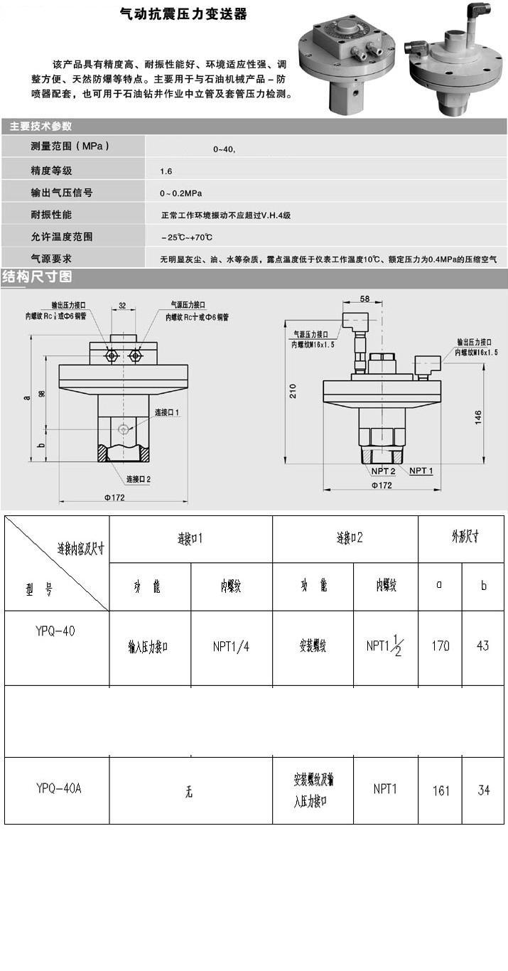 气动抗震压力变送器 型号:YPQ-40A 库号:M280205